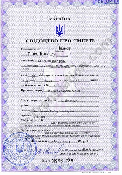 Ukrainian death certificate for Certified Translation