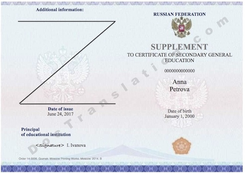 certified and notarized translation services of Russian School Diploma by ATA Certified translators