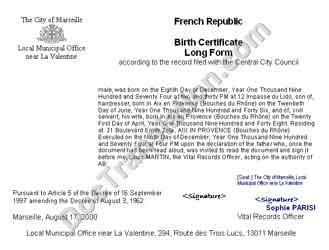 certified translation of birth certificate from french to english