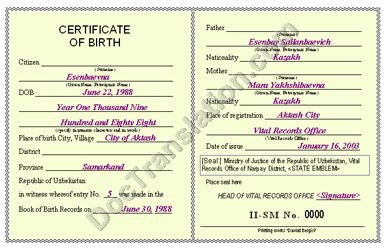 certified translation of Uzbek birth certificate from russian to english