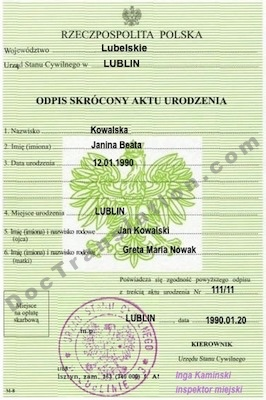 document for certified polish translation services