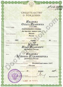 Russian Birth Certificate for certified translation