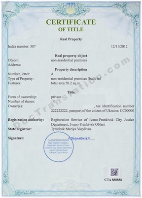 certified translation of ukrainian titile certificate