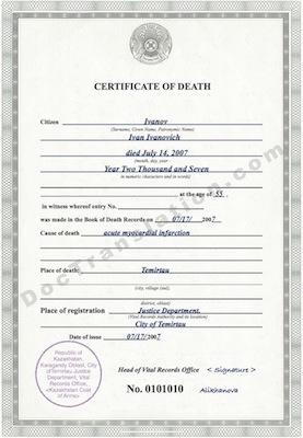 certified translation of Kazakhstan death certificate