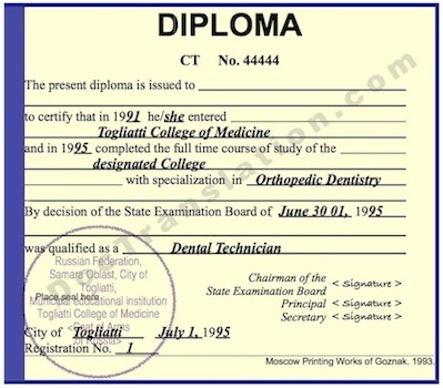 certified translation of ussr college  diploma by ata certified