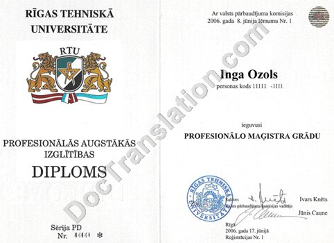 Latvian  Diploma for Certified Translation