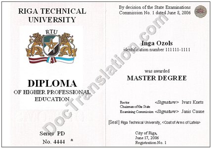certified translation of Latvia Diploma