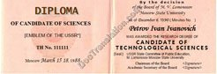 certified translation of USSR PhD Diploma