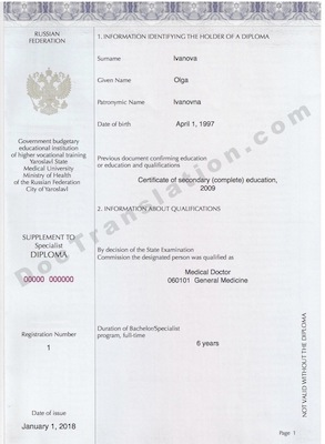 certified translation of russian supplement to diploma by ata certified translators