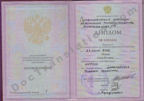 Russian College / Technicum Diploma for Certified Translation