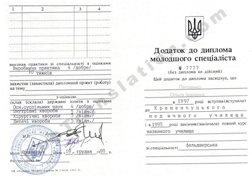 Ukraine College Transcript for Certified Translation