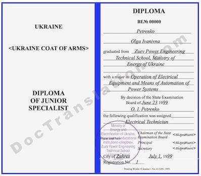 certified translation of Ukrainian Diploma by ata certified translators