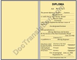 certified translation of Russian USSR Diploma