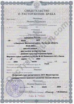 Document: Russia Divorce Certificate for Certified Translation