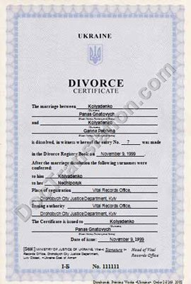 certified translation of Ukraine Divorce certificate from Ukrainian to English