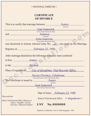 certified translation from russian of uzbek divorce certificate