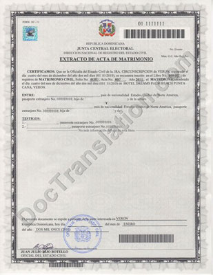 Dominican Marriage Certificate for certified translation
