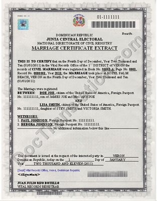 certified translation of dominican marriage certificate from spanish to english