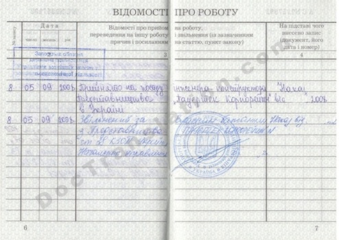 Ukraine Employment Records Card for Certified Translation