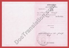 Latvian Certified Translation of HS diploma