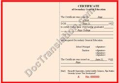 certified translation of Lativa hight school diploma