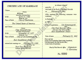 certified translation of Kazakhstan Marriage Certificate