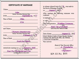 certified translation of Kyrgyz Marriage certificate
