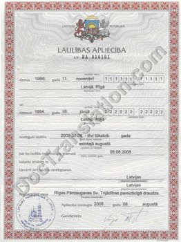 Latvian Marriage Certificate for Certified Translation