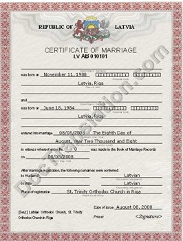 certified translation of Latvian marriage certificate from Latvian to english