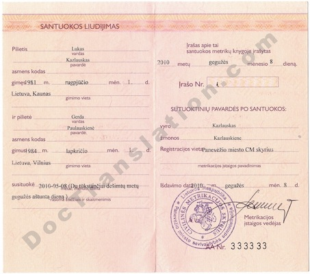 Lithuanian Marriage Certificate for certified translation