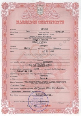 certified translation of Ukrainian marriage certificate