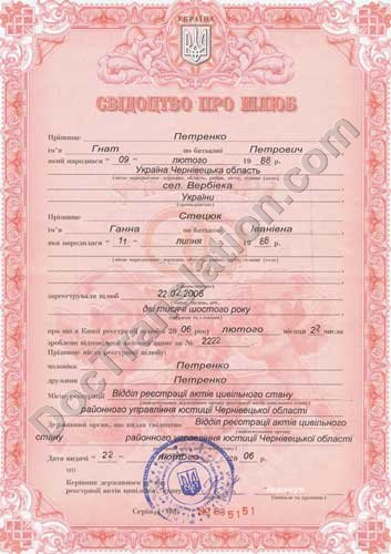Ukrainian Marriage Certificate for Translation