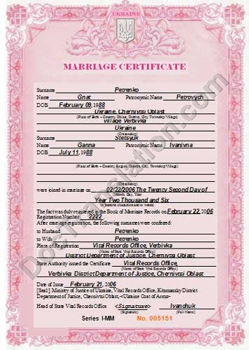 certified translation of Ukraine marriage certificate from ukrainian to English