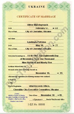 certified translation of Ukraine marriage certificate from ukrainian to English, issued before 2000