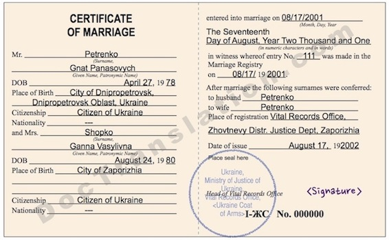 certified translation of USSR marriage certificate from ukrainian/russian