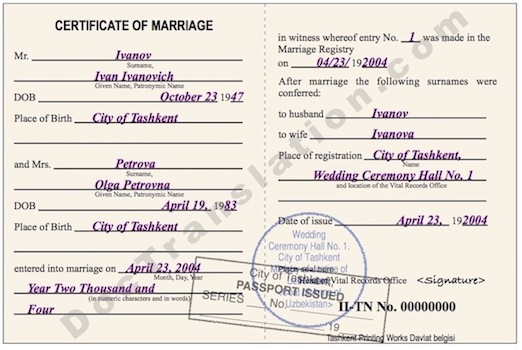 certified translation of Uzbek marriage certificate  from russian to english