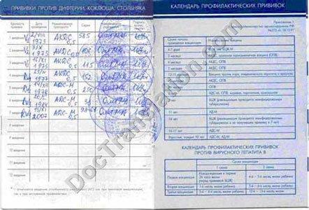 Russian Translation of Immunization Form 156