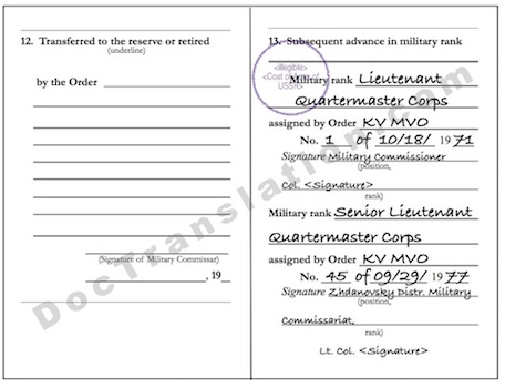 certified translation of russian military records