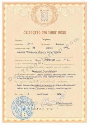 Ukrainian Name Change Certificate for certified translation