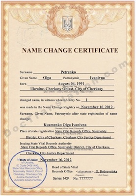certified translation from ukrainian of name change certificate for immigration