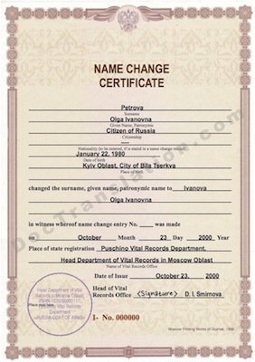 certified translation of Russian name change document