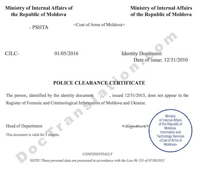 certified translation from russian of Police Clearance Certificate issued in Moldova