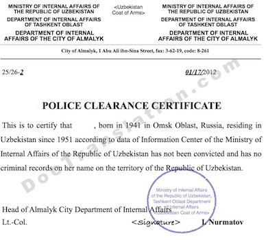 certified translation from russian of Police Clearance Certificate issued in Uzbekistan