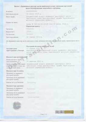 Ukrainian Name Change certificate for translation