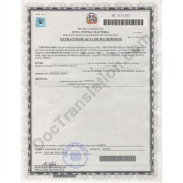 Certified translation of Dominican Republic Marriage ...
