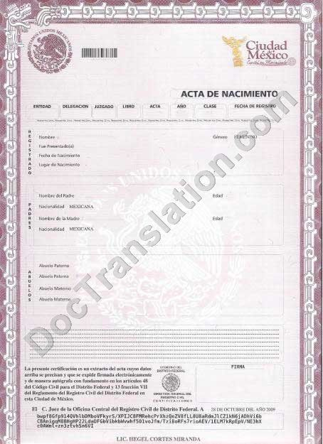Mexican birth certificate translation template images for Translation of mexican birth certificate to english template