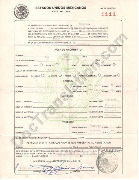 Certified translation of mexican birth certificate from spanish skip to the end of the images gallery yadclub Choice Image