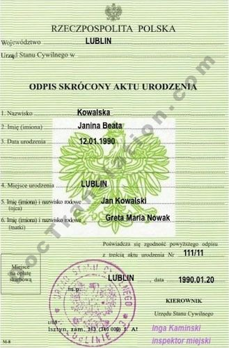 Certified Polish Translation Services: Birth, Marriage Certificate ...