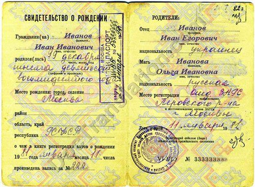 Russian certified translation of ussr birth certificate certified translation of russian soviet birth certificate yadclub Images