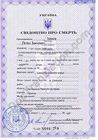 Translation of Death Certificate issued in Ukraine